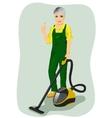 Elderly woman posing with vacuum cleaner vector image