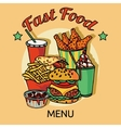 Fast food chain menu poster vector image vector image