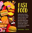 fast food restaurant banner or poster design vector image vector image