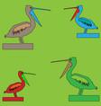 four birds pelican with open beaks of different vector image vector image