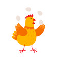 Funny hen is juggling by eggs flat