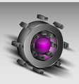 gray cog with purple core vector image