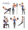 gym exercises body pump workout set vector image
