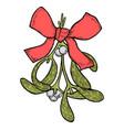 hand drawn mistletoe plant vector image vector image