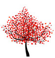 happy valentines day tree with red heart shape vector image vector image