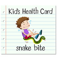 Health card with boy and snake bite vector image vector image
