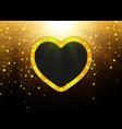 heart shape gold frame design for wedding vector image vector image