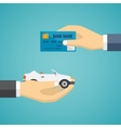 Human hands exchanging credit card and car vector image vector image