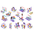 kindergarten online isometric set vector image