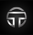 letter t silver chrome rounded logo design vector image
