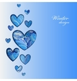 Love card Heart shape design with winter frozen vector image