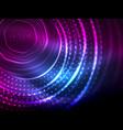 magic neon circle shape abstract background shiny vector image vector image