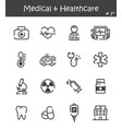 medical and healthcare line icon set 1 vector image