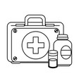medical kit with bottles drugs vector image vector image
