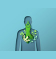 papercut green man body with tree yoga pose vector image