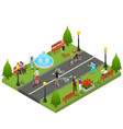 park activity in city isometric view vector image vector image