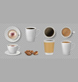 realistic coffee cups white ceramic and paper vector image