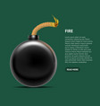 realistic detailed 3d bomb fire card poster vector image