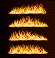 realistic fire flame trails burning tongues vector image vector image