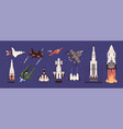 rockets and spaceships set spacecraft vector image vector image