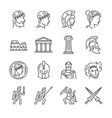 roman empire line icon set vector image vector image
