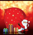 santa claus with red sack and gift boxes of vector image