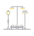 seats and street lamps vector image