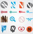 Set of alphabet symbols of letter N vector image vector image