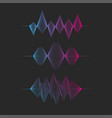set sound wave gradient graph sound frequency vector image