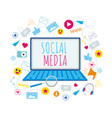 social media symbol emoji like notebook screen vector image vector image