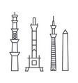towers line icon sign on vector image vector image