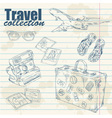 Travel objects on notebook paper vector image vector image