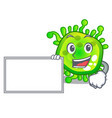 with board character microbe bacterium on the palm vector image vector image
