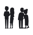 young and old familys silhouettes abstract banner vector image vector image