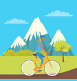 young girl isolated on bike riding near mountains vector image vector image