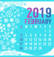 2019 winter months calendar template vector image