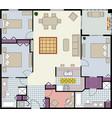 3 bed plus den furnished floor plan image vector image