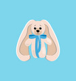 a cute toy hare with long ears and a blue bow on vector image