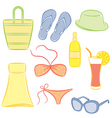 a set of beach accessories vector image