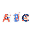 abc creative lettering for various sports women vector image