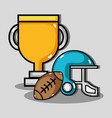 american football helmet with ball and prize cup vector image vector image