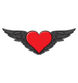 banner with a red flying heart with black wings vector image vector image