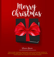 black gift box with red bow merry christmas card vector image vector image