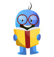 blue cartoon caracter with book and glasses on vector image vector image