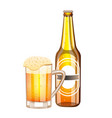 bottle and glass with light beer vector image vector image