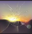 broken and cracked window glass realistic vector image