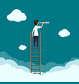 businessman standing on a ladder vector image