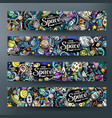 cartoon cute doodles hand drawn space banners vector image