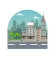 city street buildings tree silhouette landscape vector image vector image
