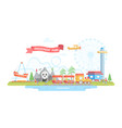 city with amusement park - modern flat design vector image vector image